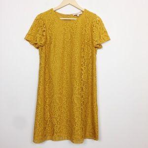 LOFT | Mustard Yellow Lace Lined Shift Dress 10P